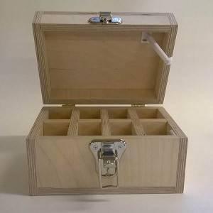 Large Unfinished Wood Box with Child safety latch and Front Clasp for Arts, Crafts, Hobbies and Home Storage