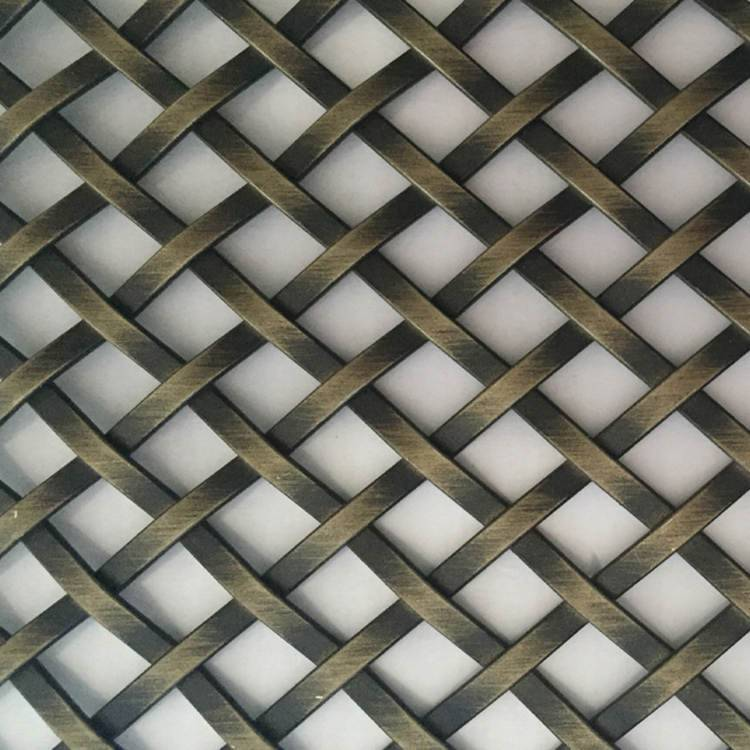 2020 China New Design Stainless Steel Flat Wire Woven Mesh - XY-3510XG Antique Brass Flat Wire Mesh Panel for Cabinet – Shuolong