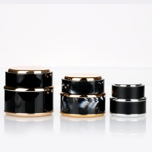 Trending Products Low Profile Cosmetic Jars - 15g 30g 50g custom plastic black skin care cream jar beauty containers with lids  – Sich