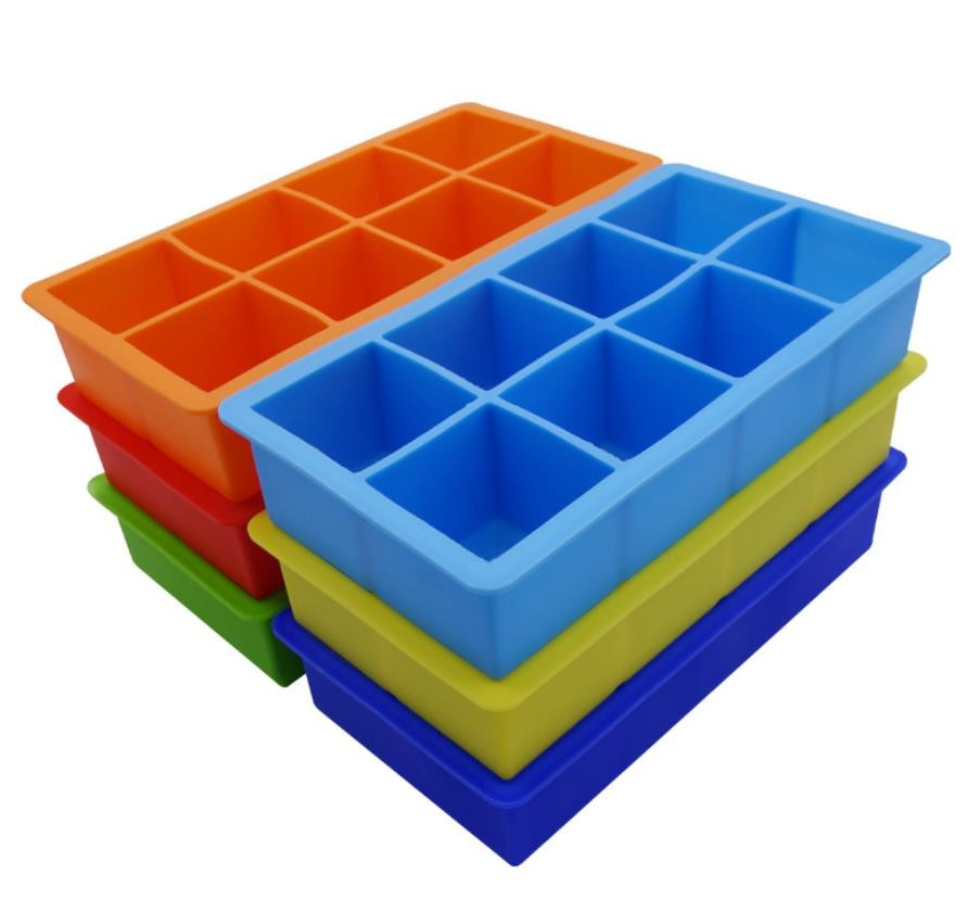 Square Silicone Ice Tray Molds , Novelty Ice Molds 8 Cavity Stackable