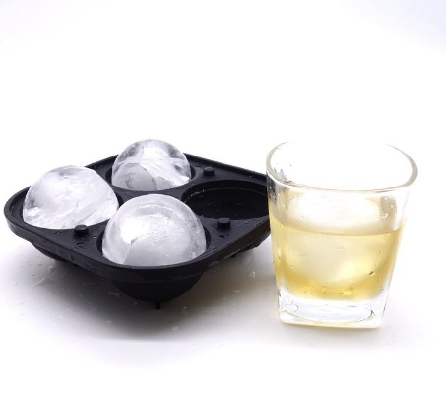 Whiskey 4 Cavity Silicone Ice Ball Molds Easy Release Durable With Funnel