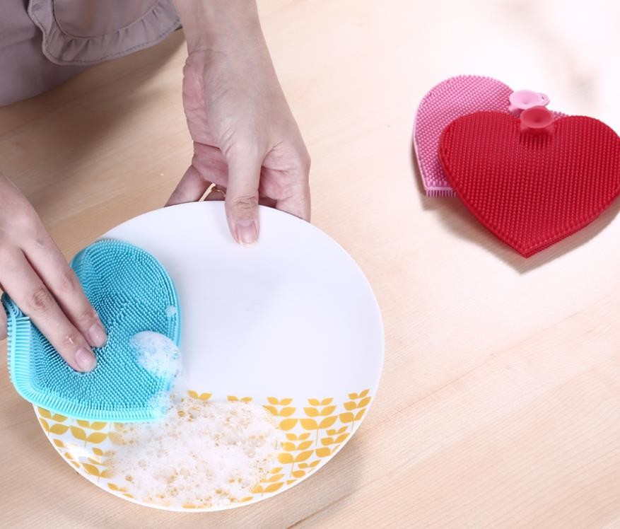 Heart shape Food Grade Silicone Washing Brush  for Cleaning dishes and fruit