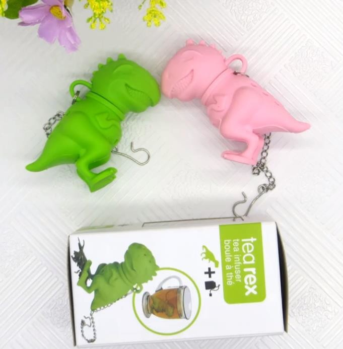 Dinosaur shaped Design BPA Free FDA silicone tea bag with box package