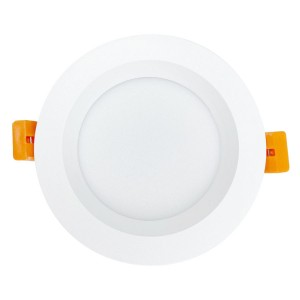 90mm Cut-out Aluminum Coated Plastic Tri-colour Slim Downlight with Recessed Fascia