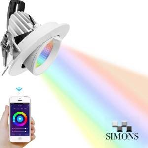 Factory Price For Recessed Spotlights - RGBW COB Gimbal Smart Downlight – Simons