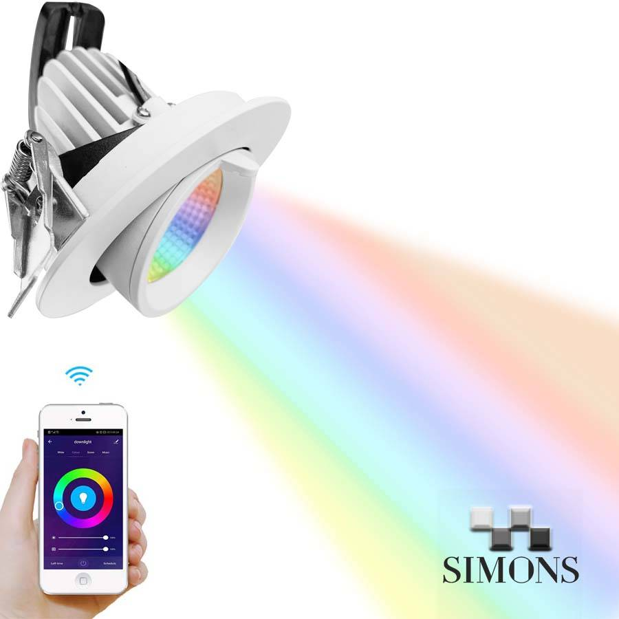 Factory Outlets Flat Led Light - RGBW COB Gimbal Smart Downlight – Simons