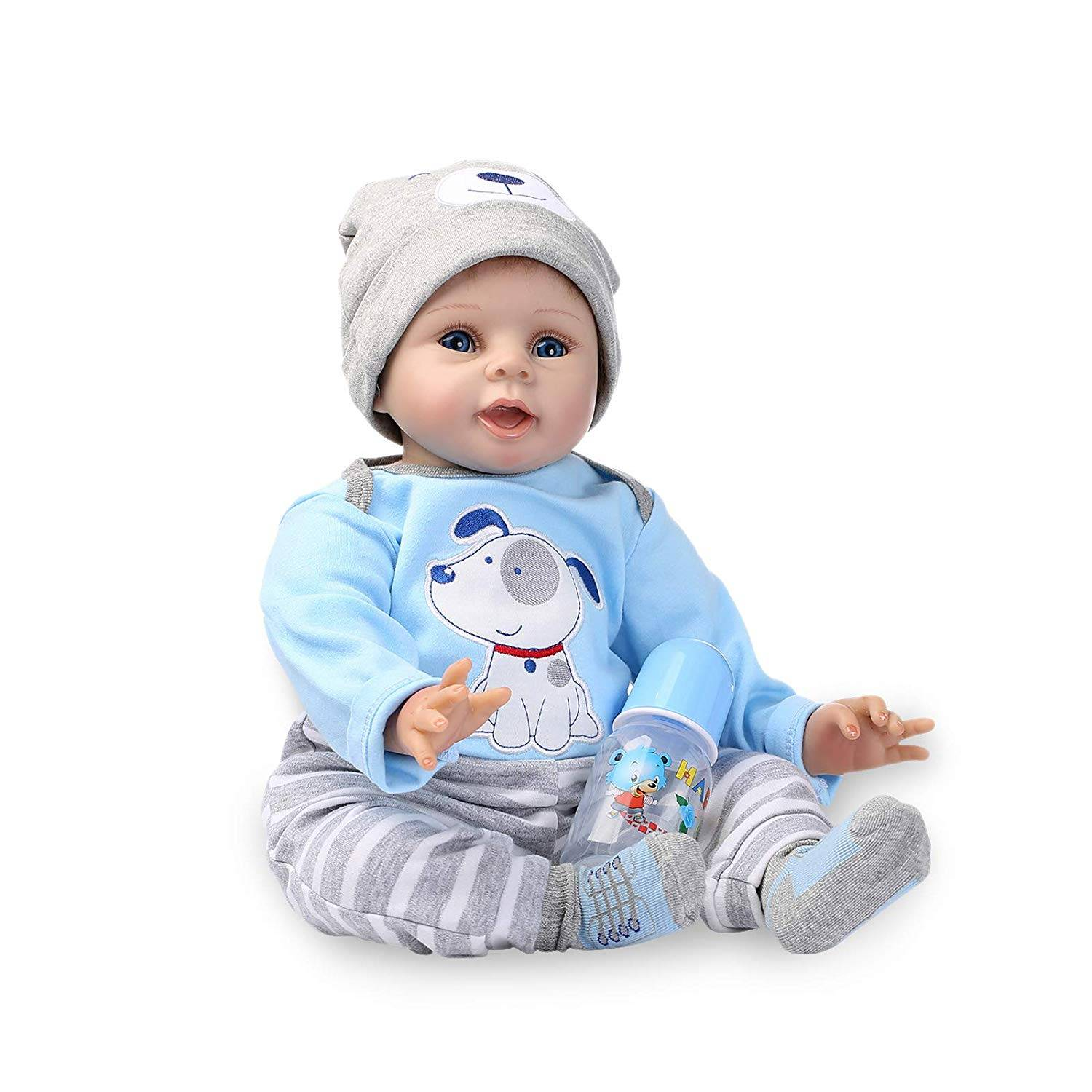 Top Suppliers Realistic Baby Doll - Reborn Baby Doll Soft Simulation Silicone Vinyl Cloth Body 22inch 55cm Lifelike Boy Girl Toy  – Geshuo
