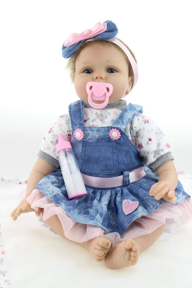 Free sample for Lifelike Vinyl Baby Dolls - ZIYIUI Realistic 22 inch 55cm Reborn Baby Doll Soft Vinyl Silicone Real Look alive Baby Handmade Lifelike Blue denim dress doll  – Geshuo