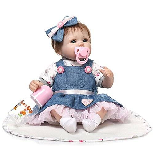 Hot Selling for Baby Reborn Girl Clothes - ZIYIUI Handmade Soft Silicone 18 inch Reborn Baby Doll Girl Lifelike Blue Eyes Newborn Girl Toy Doll  – Geshuo