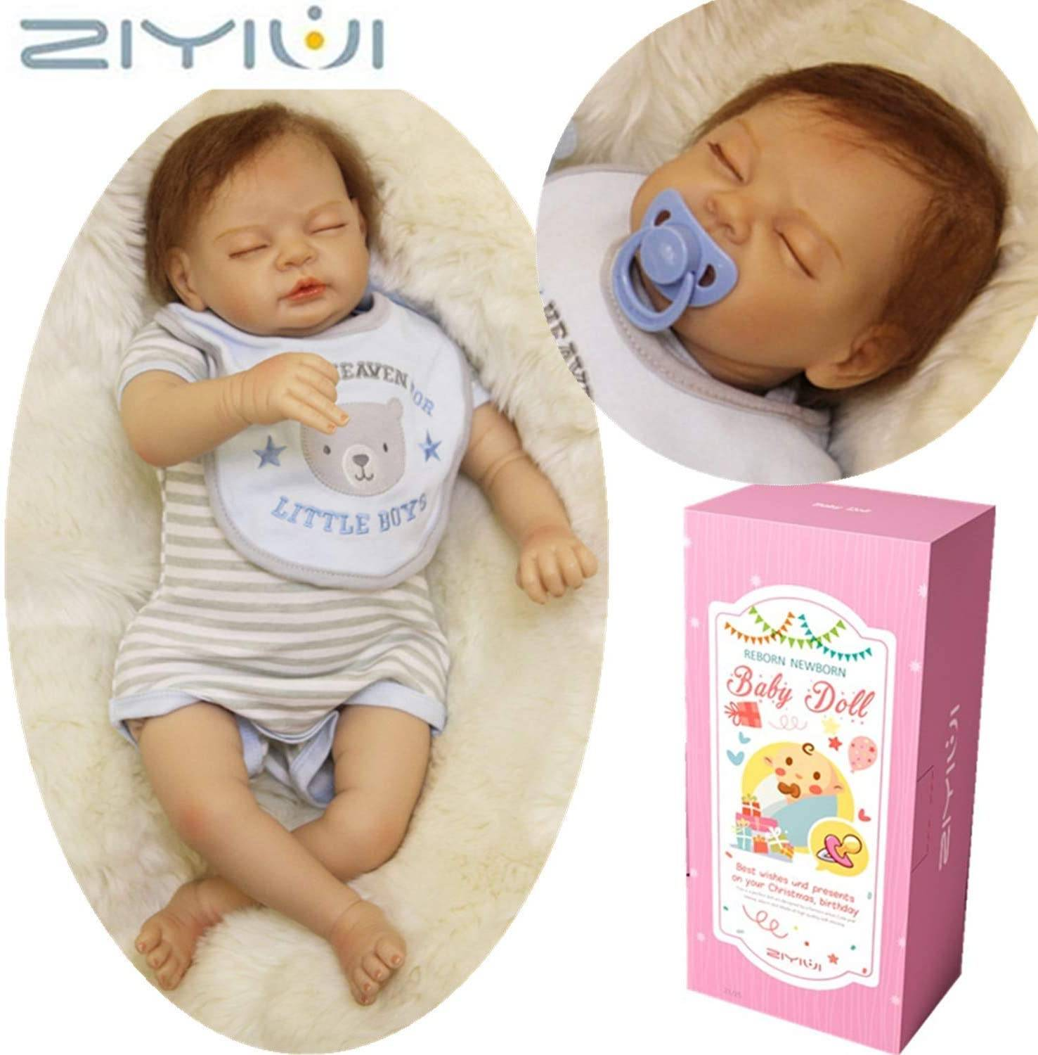 "Realistic Baby Reborn - ZIYIUI Reborn Baby Dolls 22 "" 55 cmThat Looks Real Life Babies Realistic Toddler Pretty Boy Vinyl Newborn Soft Silicone Doll Magnetic Mouth Birthday Gift Toys for age..."
