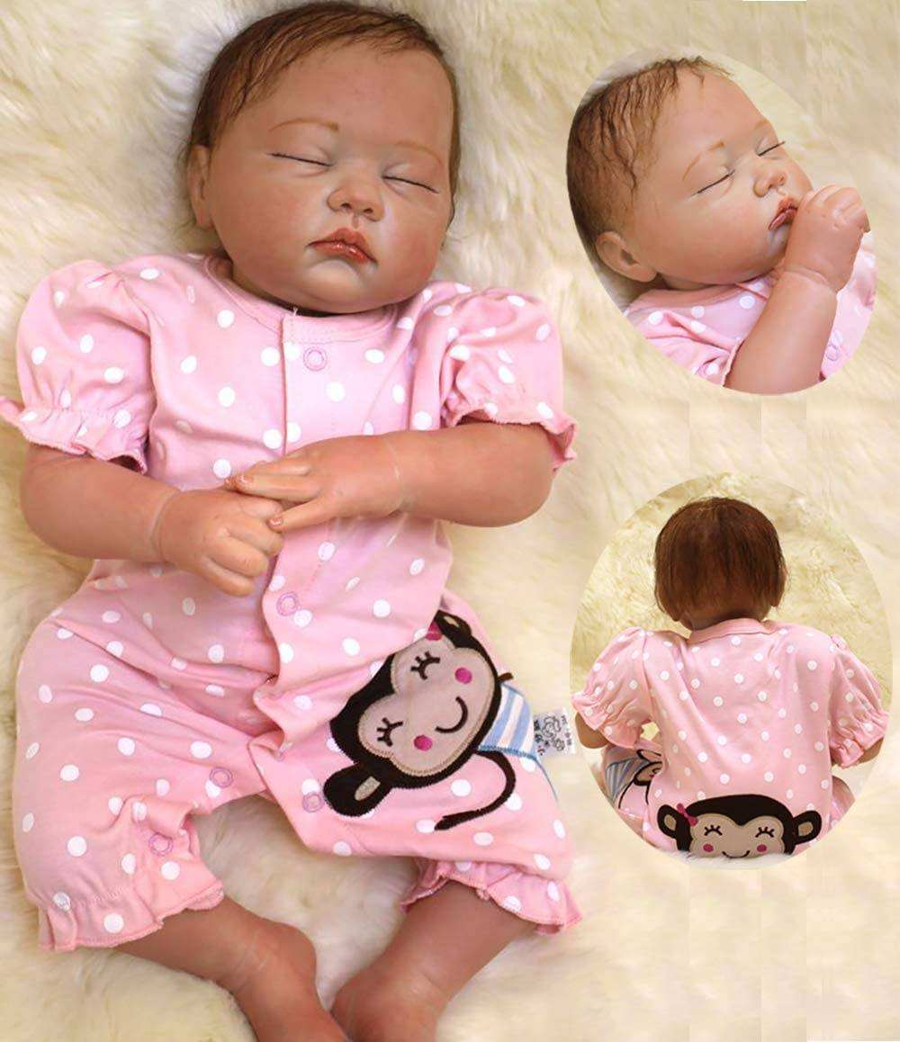 Reborn Baby Outfits - ZIYIUI Realistic 20 Inch Toddler Sleeping Girl Baby Doll Reborn Dolls Girl Vinyl Soft Silicone Handmade Newborn Reborn Babies Boy and Girl Toys Magnetic Mouth Pacifier Birthd...