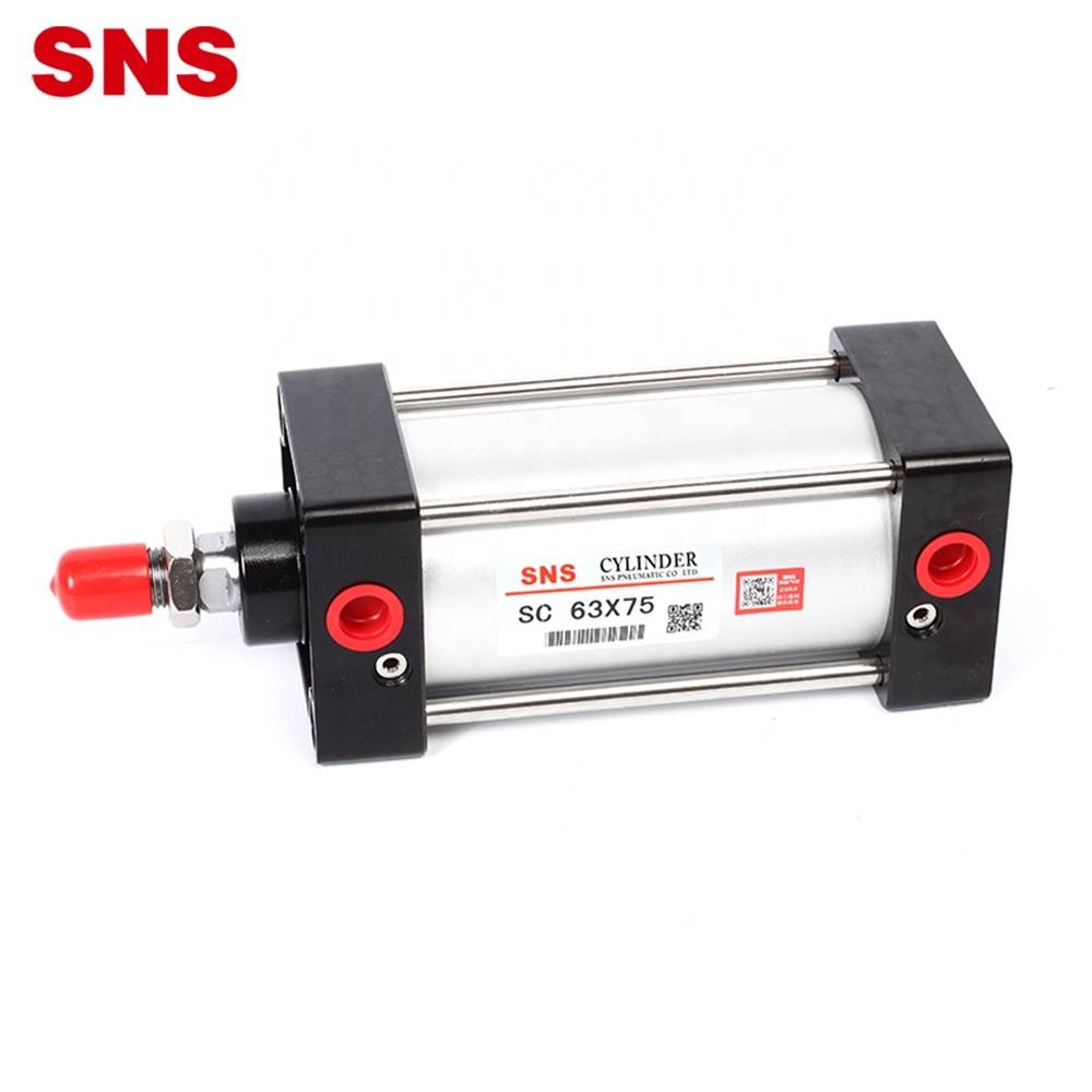 SNS SC Series aluminium alloy double/single acting standard pneumatic air cylinder with PT/NPT port
