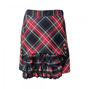 Lace Design Tucked  Plaid Dress for girl