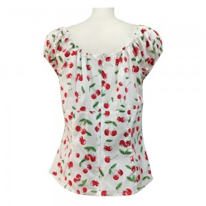 Lady summer clothing Ladies Short Sleeved cotton Cherry Printing Casual Shirt Clothing for Women