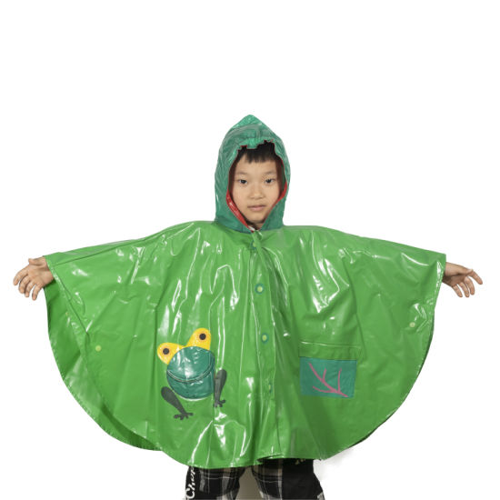 Hot Sale Cheap Kids Poncho Cute Cartoon Pattern Waterproof Children Rain Coat with Hood Poncho Polyester Children Rain Coat Featured Image