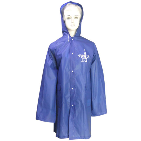 Long Blue Rainwear PVC Raincoat for Adult by China Factory