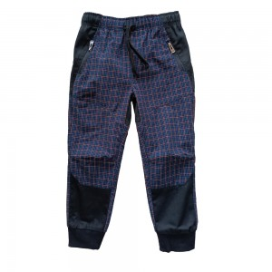 Children outdoor Casual sport Pants with plaid fabric