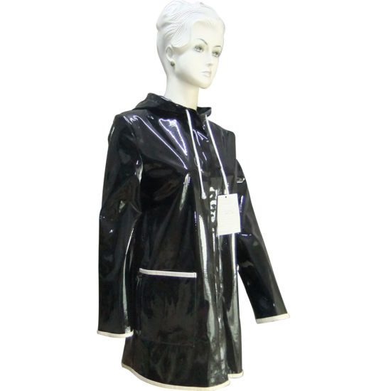 Faux Leather Jacket Raincoat with Lovely Cat Ears on The Hood