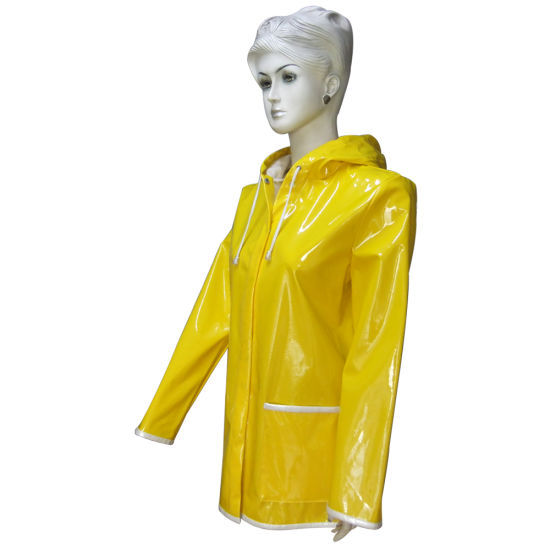 PU Leather Rain Jacket Rain Coat for Women