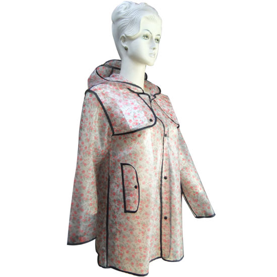 Rain Coat for Adult TPU Printing Material with Breathable and Water Resistant