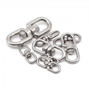 Wholesale Metal Carabiner - 304 Stainless Steel High Polished Double Swivel Eye Hook Shackle Heavy Duty Swivel Ring M4-M28 – Spocket