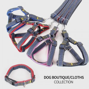 120CM Pet Traction Rope Small and Medium-sized Dog Denim Ribbon Traction collar dog leash dog kit