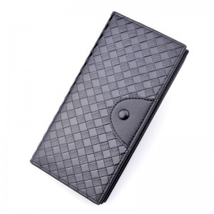 High Quality Adult Wallet - New men's wallet men's long woven pattern wallet multi card position fashion casual open large capacity wallet – Sansan
