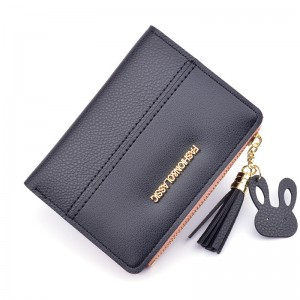 New Wallet Lady Short Fashion Korean Zipper Tassels 2 Fold Wallet