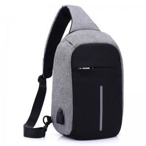 The new USB charging men's trend casual chest bag shoulder messenger bag