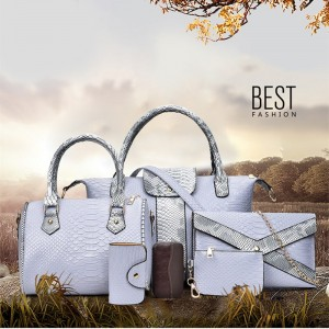 Ladies Fashion 6 Set Handbag PU Leather Portable Shoulder Wallet Female Bag