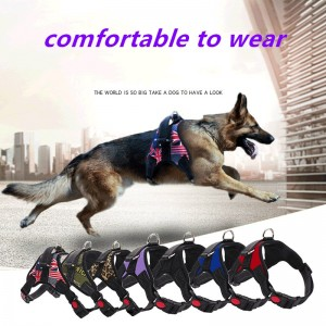 Medium and large dog chain, pet vest, collar, safety vest, harness, explosion-proof chest harness with adjustable strap and buckle clip, dog leash