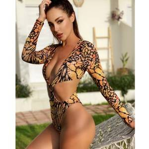 Custom new fashion sexy one piece butterfly swimsuit with long sleeves