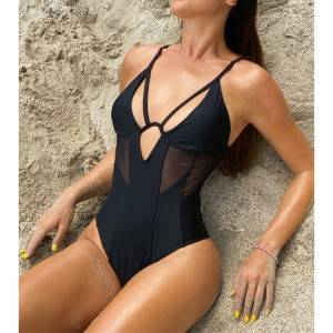 Wholesale cross back sexy one piece black swimsuit with mesh fabric