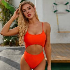 Sexy cut out one piece swimsuit push up swim suit custom women bathing suits