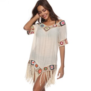 Women's Crochet Chiffon Tassel Swimsuit Beachwear Cover Ups for Swimwear