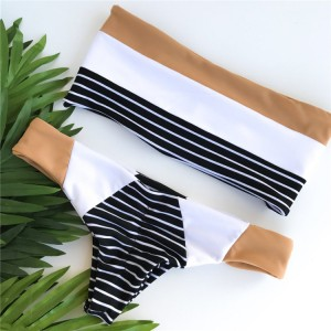 Wholesale Bandeau Swimwear Manufacturers - Women's Bikini Swimsuits Strapless Two Pieces Bathing Suits Print Bandeau Swimwear Thong Bikinis Set – Stamgon