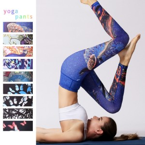 Wholesale custom digital printed sexy high waist butt lift yoga pants women