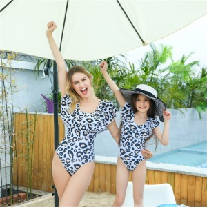 Mommy and Me Swimsuit One Piece Leopard Ruffle Bathing Suit Family Matching Swimwear Monokini