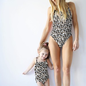 Wholesale one piece leopard mommy and me swimwear for mom and daughter