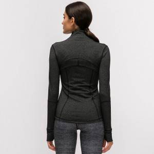 Fashionable zip up long sleeve fitness yoga wear womens winter sports jacket
