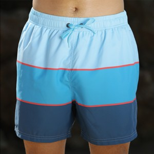Stamgon Men's Swim Trunks Colorful Striped Beach Board Shorts with Lining