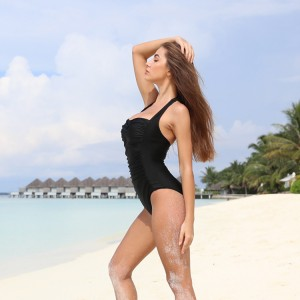 Tummy Control Swimwear Black Halter One Piece Swimsuit Ruched Padded Bathing Suits for Women Slimming Vintage Bikini