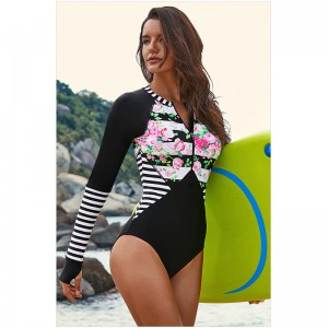 OEM Swimwear Sexy Bikini Factories - Women's Rashguard Long Sleeve Zip swimwear Floral Print Bathing suits One Piece Swimsuit  – Stamgon
