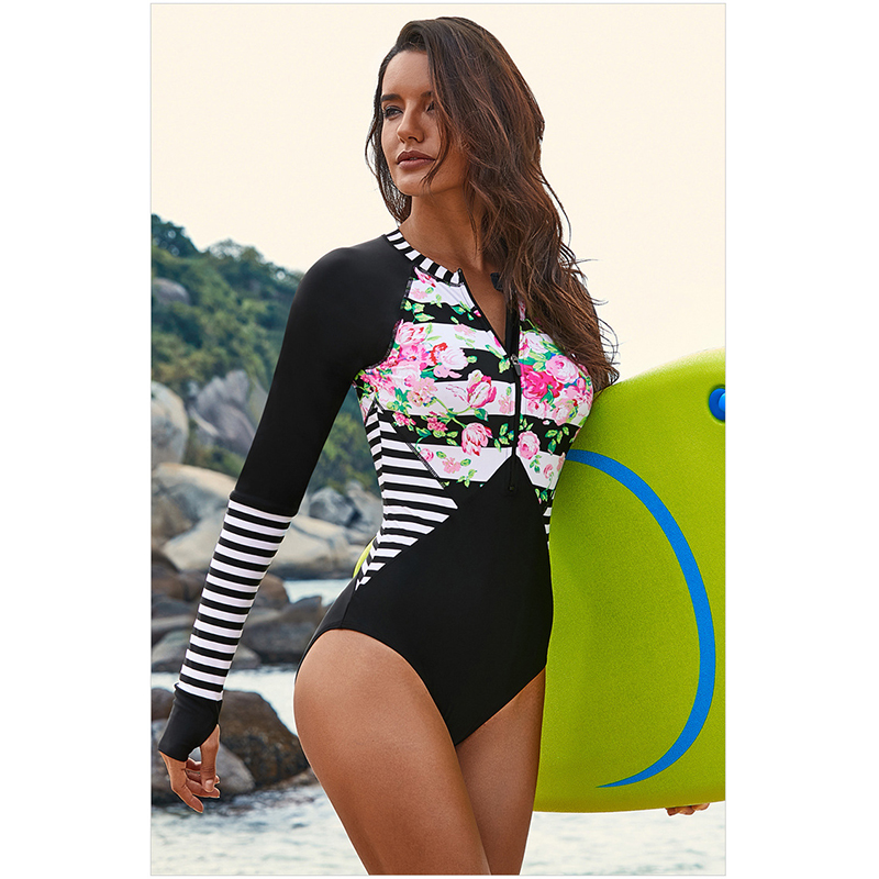 Wholesale Discount Tummy Control Bathing Suits - Women's Rashguard Long Sleeve Zip swimwear Floral Print Bathing suits One Piece Swimsuit  – Stamgon