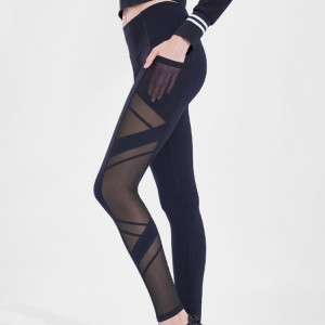 Wholesale Active Wear Tops Manufacturers - Women's Mesh Leggings Yoga Pants with Pocket, Non See-Through Capri High Waisted Tummy Control 4 Way Stretch – Stamgon