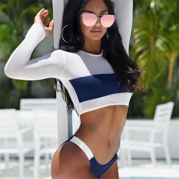 OEM Bandeau Swimwear Manufacturers - Long Sleeves Two Piece Swimsuits – Ice Silk Color Block Sporty Corp Top Bikini with High Rise Thong – Stamgon