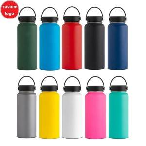 32 oz Custom printed stainless steel double wall vacuum insulate hydro sports hiking water bottles thermos flask