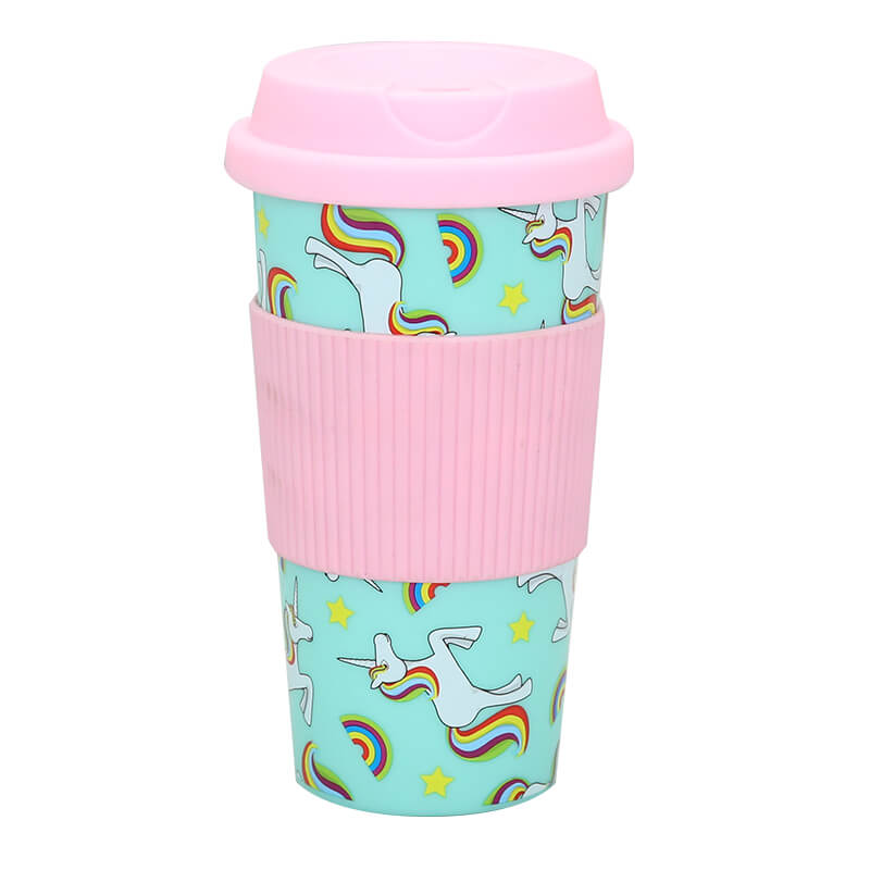 Factory Customized Reusable Plastic Coffee Cups - Customized 450ml travel coffee mug with silicone sleeve – SUNSUM