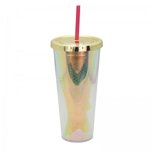 customized design 16oz Double wall plastic tumber with straw,fish shaped inner wall