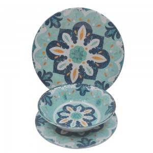 Wholesale classic pattern design melamine plate and bowl dinner set